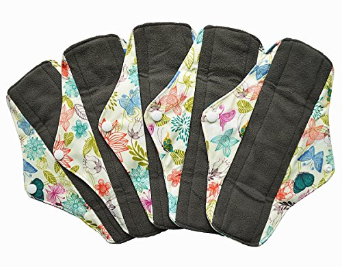 5 Pieces Charcoal Bamboo Mama Cloth/ Menstrual Pads/ Reusable Sanitary Pads (Regular (10 inch), Bloom)