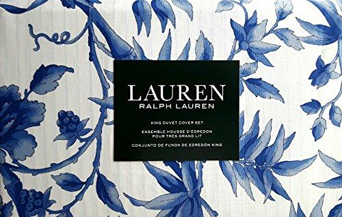 Lauren Ralph Lauren 3pc King Duvet Cover Set Blue Floral Pattern Blue Flowers and Leaves on White (Set Duvet Lauren Ralph)