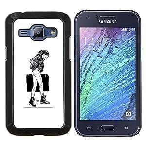 Qstar Arte & diseño plástico duro Fundas Cover Cubre Hard Case Cover para Samsung Galaxy J1 J100 (Caminando Girl - B & W)