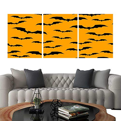 UHOO 3 Piece Wall Art Painting Happy Halloween Abstract Seamless Pattern Background Abstract Halloween Pattern for Design Card Party Invitation Poster Album menu t Shirt Bag Print etc Living Room ki]()