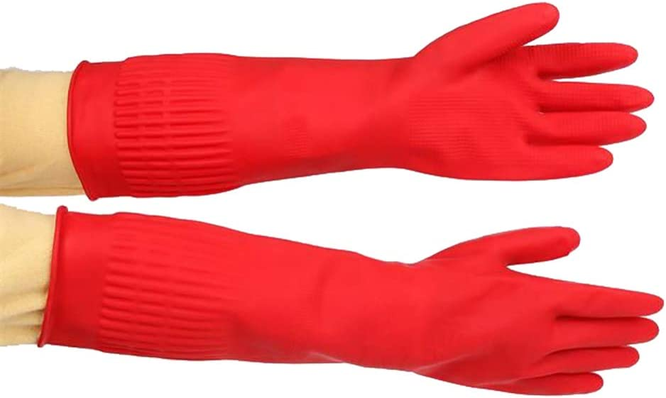 Red qingsb 1 Pair Durable Latex Long Waterproof Kitchen Cleaning Tool Dish Washing Gloves