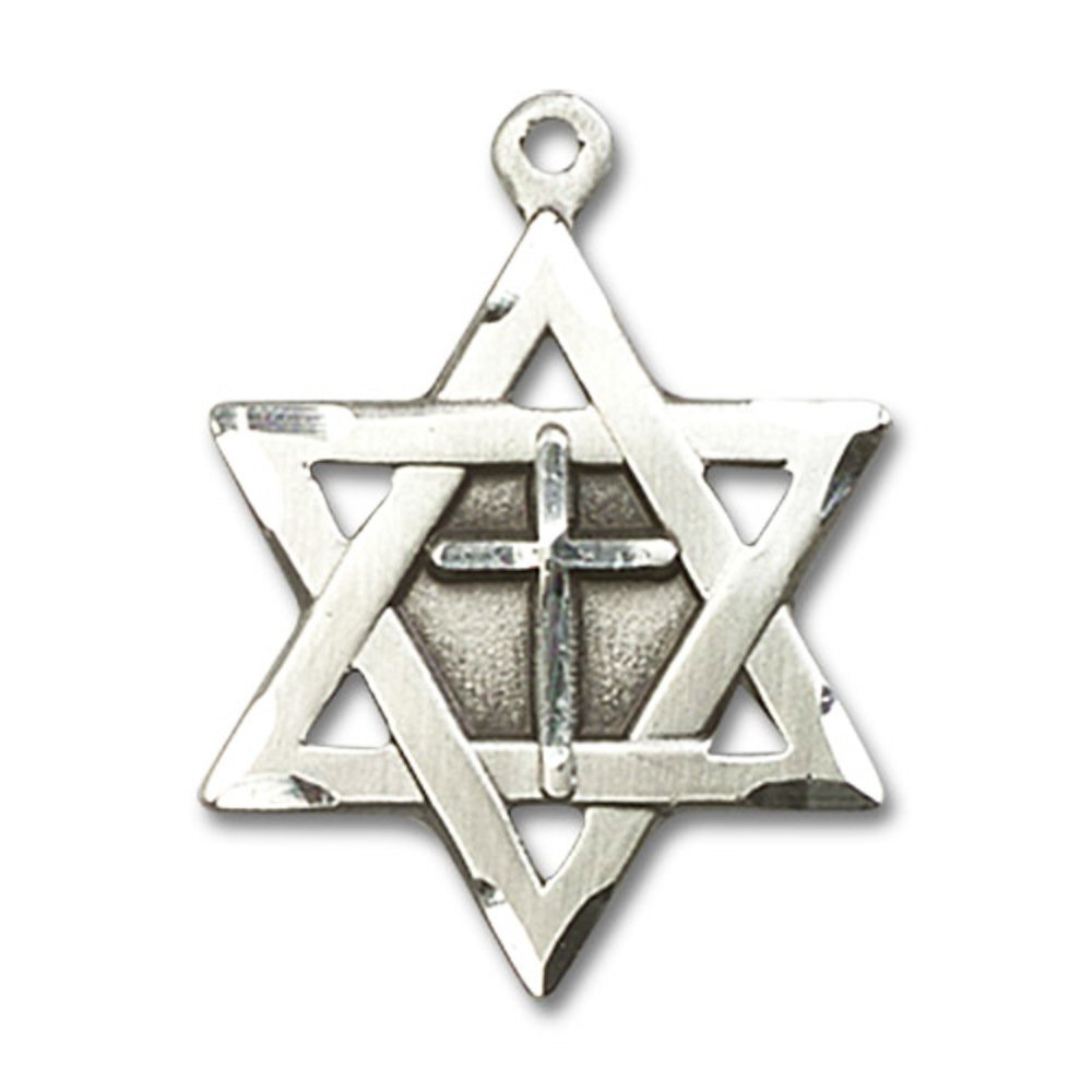 Sterling Silver Star of David W// Cross Pendant 7//8 x 5//8 inches with Heavy Curb Chain