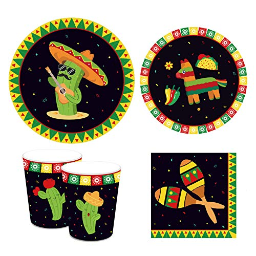 Mexican Party Supplies Pack Serving 16 Guests, Including Dinner Plates, Luncheon Napkins and Cups Supply Tableware Set Kit for Fiesta Cactus Theme Baby Shower Birthday Party Decorations