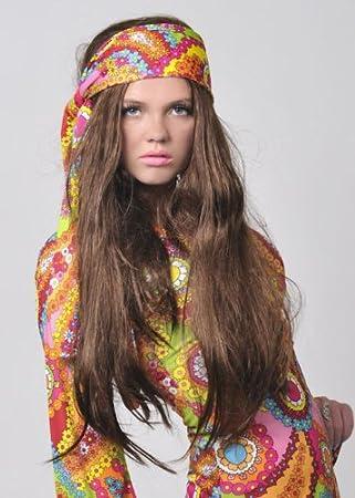 años 70 Vestido de hippy niña lujo peluca marrón larga ...