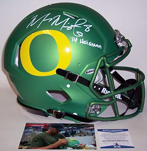 Marcus Mariota - Autographed Hand Signed Full Size Riddell Speed Authentic Proline Helmet - Oregon Ducks - BAS Beckett Authentication