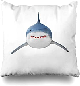 Ahawoso Throw Pillow Cover Deep Fish Great White Shark Carcharodon Carcharias Travel Worlds Aquatic Attack Barrier Reef Beach Decorative Pillow Case 20x20 Inches Square Home Decor Pillowcase