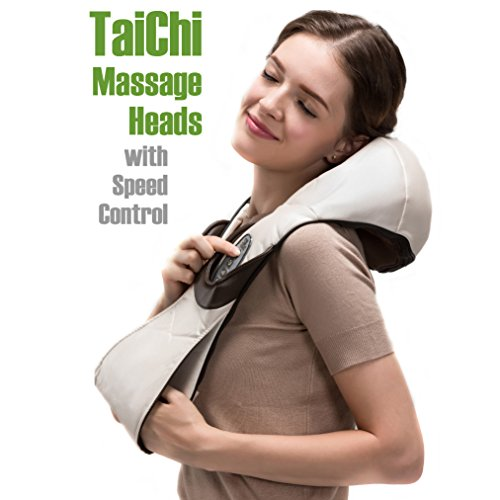 Shiatsu Massage Therapy (Variable Speed Taichi Rollers Deep Kneading Shiatsu Massager. Neck Massager/ Shoulder and Back Massager/ Foot Massager. Pain Relief Electric Massage Therapy Muscles Kneading Massager with)