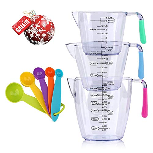 $7.99 Plastic Measuring Cups and Spoons Set 8 Pack: 3 Cup and 5 Spoon For Cook & Bakery,Home Kitchen Gadget, Tool & Utensils For Seasoning Measurement
