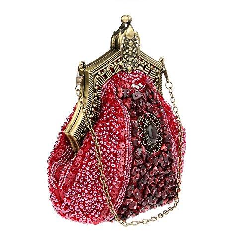 a Noir Pochette Sac à Perlée Mariée Main Main de Sacoches Sac Rouge KAXIDY Femmes Soiree Paillette Satin xWSq8TXYpZ