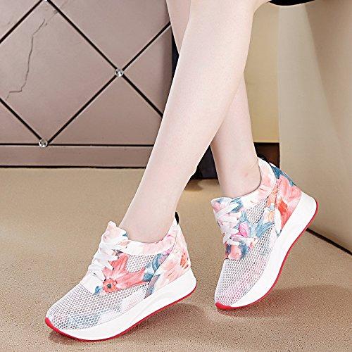 amp;G Baskets Respirante Épais Chaussures pink Bas Chaussures Faible Creux De summer Gâteau NGRDX Occasionnels Femme wRqnF5Rdp