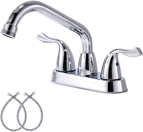 4-Inch Centerset Double Handle Tub Faucet Utility Sink Laundry Faucet with Swing Spout and Hose End, Chrome Finish,BF025-7-C