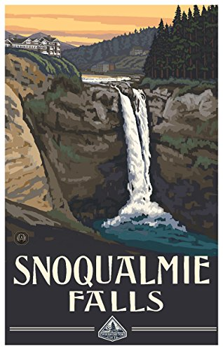 Snoqualmie Falls Washington Travel Art Print Poster by Paul A. Lanquist (12