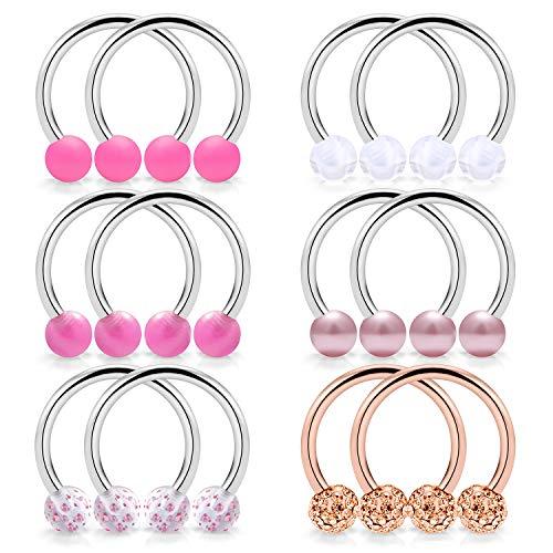 SCERRING 6 Pairs 14G Stainless Steel Horseshoe Nipple Rings Hoop Cartilage Earrings Nipplerings Piercing Jewelry for Women Men 14mm Rose Gold ()
