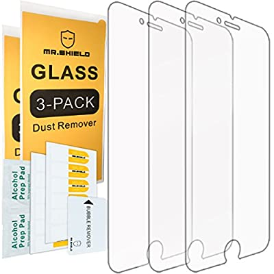 [3-PACK] - Mr Shield For iPhone 7 Plus / iPhone 8 Plus [Tempered Glass] Screen Protector [0.3mm Ultra Thin 9H Hardness 2.5D Round Edge] with Lifetime Replacement Warranty