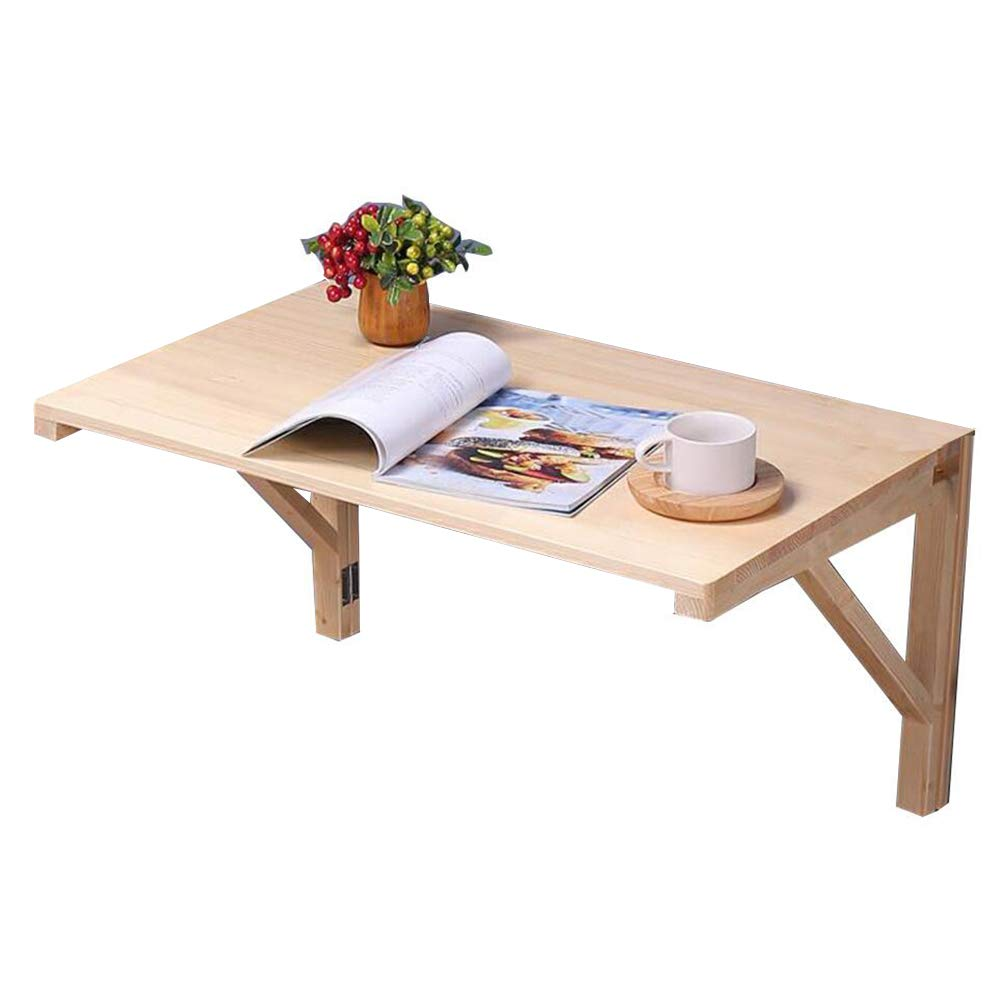 Wood color 80 x 50cm PENGFEI Wall-Mounted Table Laptop Stand Foldable Household Shelf Learning Desk Pine, 8 Sizes (color   Wood color, Size   80 x 50cm)