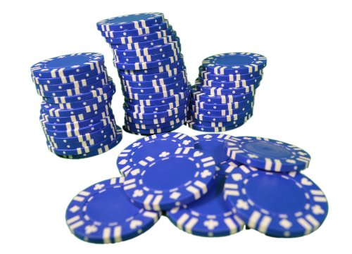 Blue With Card Suit Composite Poker Chips 11.5g Heavy Duty Lot of 200 (4 packs )