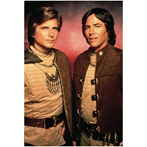 Battlestar Gallactica Dirk Benedict as Starbuck and Richard Hatch as Apollo slightly facing each other 8 x 10 Inch Photo