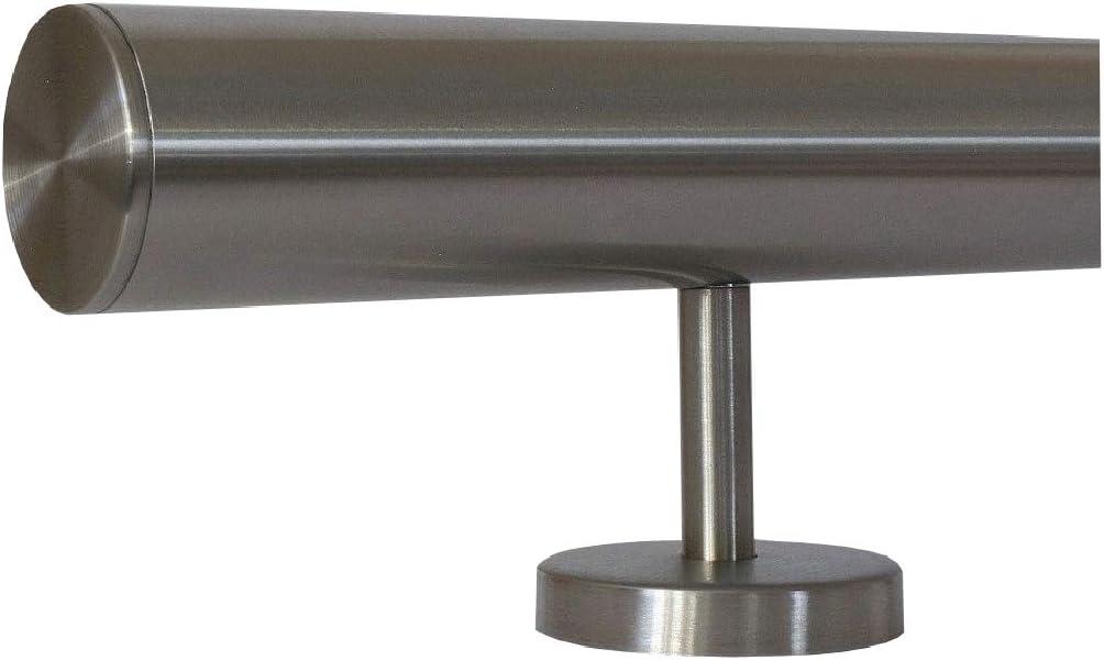 Enden mit leicht gew/ölbte Kappe zum Beispiel: L/änge 210 cm mit 3 Halter Edelstahlhandlauf L/änge 0,3m 6m aus einem St/ück und unterschiedlichen Endst/ücken zum Ausw/ählen /Ø 42,4 mm mit gerade Halter