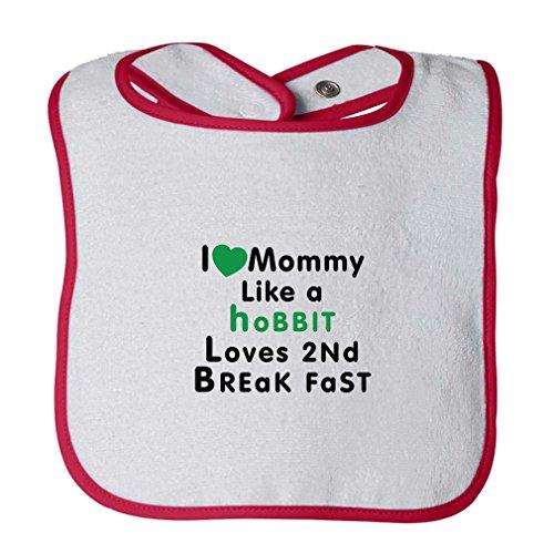 Love Momy Like Hobbit Loves 2 Breakfast Infant Contrast Trim Terry Bib White/Red