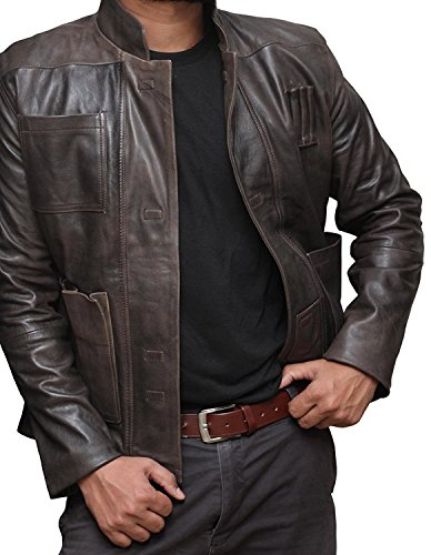 Star Wars Han Solo Brown Distressed Genuine Biker Leather Jacket For Men