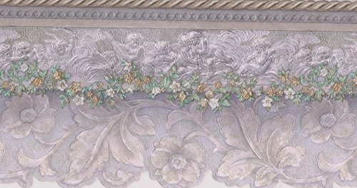 Green Floral Wallpaper Border - Beige White Green Floral Wallpaper Border Retro Design, Roll 15' x 4.5''