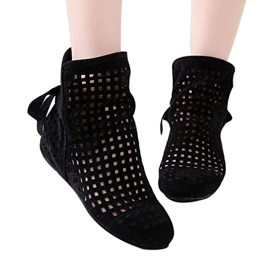 Amazon.com  Gyoume Sandals Hollow Out Ankle Boots Shoes Women Flat Wedges  Boots Girls Cute Booties Dress Shoes Black  Clothing 304b1f4873
