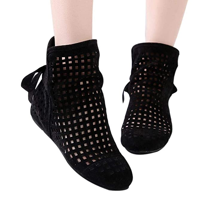 a7447f589854 Gyoume Sandals Hollow Out Ankle Boots Shoes Women Flat Wedges Boots Girls  Cute Booties Dress Shoes