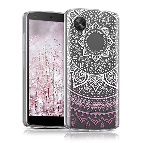 kwmobile Crystal TPU Silicone Case for LG Google Nexus 5 in Indian Sun light pink white transparent