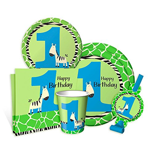 Wild at One Zebra 1st Birthday Boy Party Pack for 8 guests