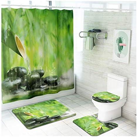 バスルームマットセット、中国のスタイル竹印刷シャワーカーテンフランネルフットパッドは脚の疲労を和らげます CXF (色 : A, サイズ : 4 piece set)
