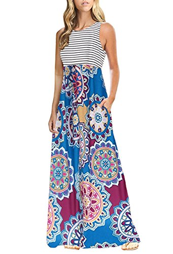 OURS Women's Summer Floral Print Bohemian Tank Dresses with Pockets (X-Pattern4, L) (Print Tribal Long Skirts)
