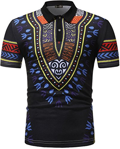 Sportides Mens Casual Traditional African Style Short Sleeve Polo T-Shirts Tee Shirt Tops JZA366 Black S -