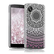 kwmobile Crystal TPU Silicone Case for LG Google Nexus 5 in Design Indian sun light pink white transparent