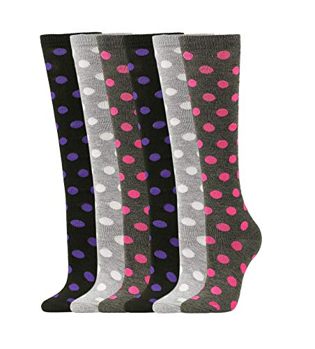 (Women's Soft Knee High Socks,Casual, Polka-dots, Multi Color Value 6 Pack (Dots.2-6pk))