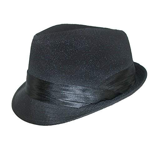 Kenny K Men's Wedding Dress Formal Fedora Hat, Large, Black on Black by Kenny K