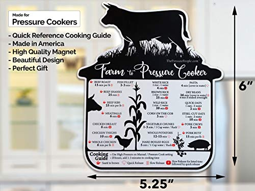 The Pressure People Quick Reference Cooking Guide/Cheat Sheet Magnet Compatible with Instant Pot and Other Electronic Pressure cookers | Instapot Accessories (Farm to Pressure Cooker) by The Pressure People (Image #1)'