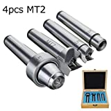 Pukido 4pcs MT2 Wood Lathe Live Center Set MT2 Arbor For Wood Turning Tool With Wooden Case
