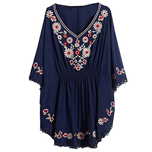 Women Vintage Loosen Embrodiered Batwing Sleeve Dressy Mexican Tunic Peasant Tops Blouse Navy 1 (Sexy Mexican Woman)