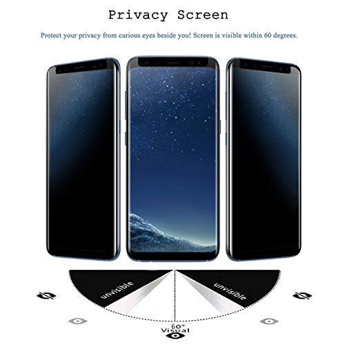 For Samsung Galaxy S8 Screen Protector Privacy Anti-Spy,DeFitch [3D Curved][Easy to install][Anti-Scratch][No Bubble][9H Hardness]Privacy Anti-Peep Tempered Glass Screen Protector For Galaxy S8 by DeFitch (Image #2)