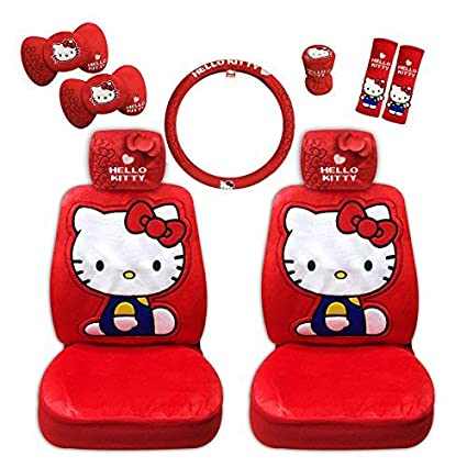 0d4ba0af0 Amazon.com: Hello Kitty Auto Accessory Set (I'm Kitty Collection - red) 10  pieces: Automotive