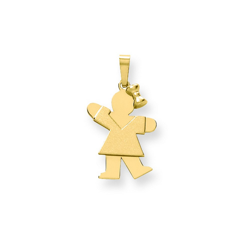 14k Solid Engravable Girl With Bow On Right Charm