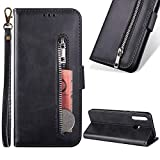 Zipper Wallet Case for Samsung Galaxy A30/A20,Cistor Cowhide Leather Purse Flip Stand Soft Case with Card Holder Slots Wrist Strap Case Cover for Samsung Galaxy A30/A20,Black