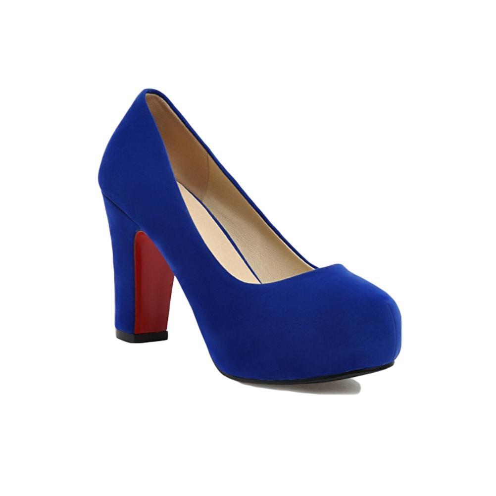 bleu-39 HIGHXE Chaussures en Dentelle à Talons Hauts à Talons Hauts, Chaussures à Dents Rondes, antidérapantes