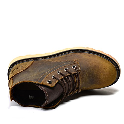 Women's Boots Boots Leather Fashion Quality Brown Lace Genuine Outdoor Up Top Working Zaw4qrZ