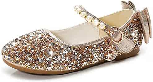 d715323cdbf LINGMAO Girls Glitter Sequins Flat Shoes Bow Tie Princess Dress Party Dance  Shoes (Toddler
