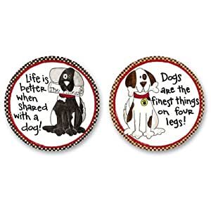 2 Piece Life with a Dog Car Coaster Set