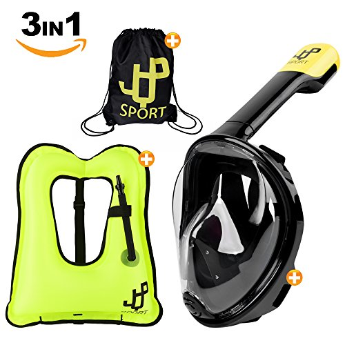 One Day Sale !!! Full Face Snorkel Mask and snorkel vest & Durable Carry Bag | 180° View, Anti-Fog & Anti-Leak Diving Mask | S/M