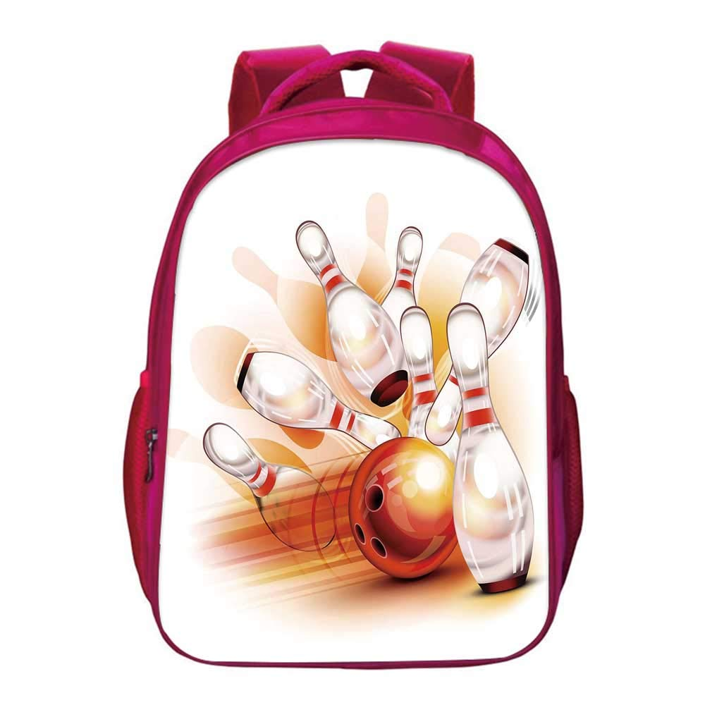 Bowling Party Decorations Kids Bookbag,Abstract Colorful Ball Crashing into Vivid Skittles Artsy Decorative for Kids Girls,11.8''Lx6.3''Wx15.7''H by YOLIYANA
