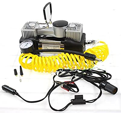 12V DC Twin Cyclinder Mini Metal Air pump Compressor Tire Inflator Kit 12 Volt