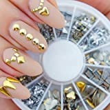 Professional High Quality Manicure 3D Nail Art Decorations Wheel With Gold And Silver Metal Studs In 12 Different Shapes By VAGA®